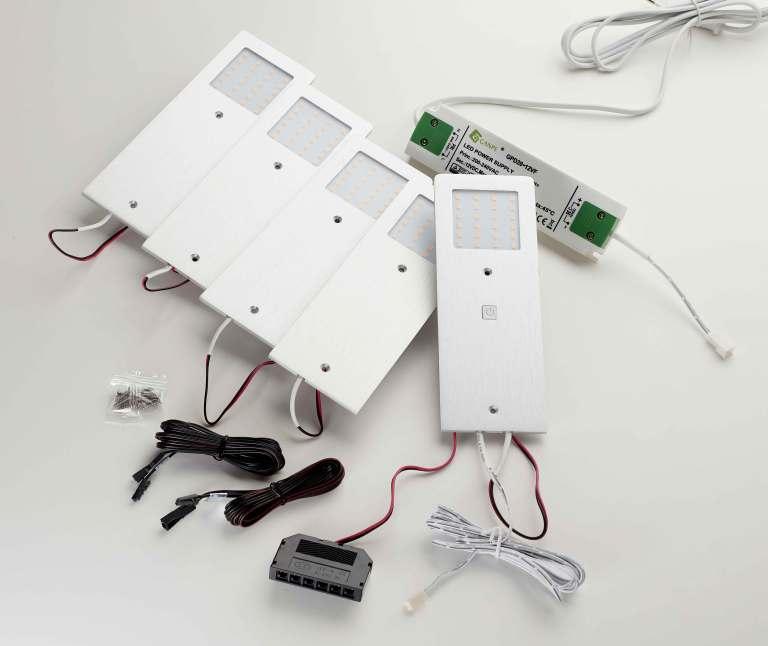 Stella LED møbelspot 5-kit av/på og dim. Sort